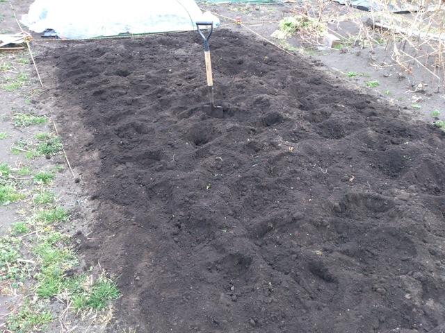 耕した後の畑